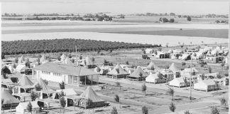 """Shafter Camp 1939"""" Photo: Dorothea Lange. U. S. National Archives"""