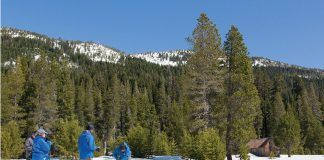CDWR staff conduct the May 2019 snow survey at Phillips Station in the Sierra Nevada mountains. Photo: CDWR