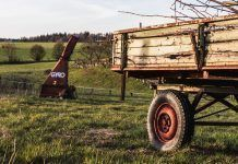 old farming trailer