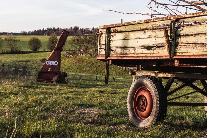 old farming trailer