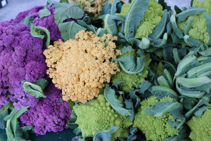 Assorted cruciferous vegetables at local farmers market