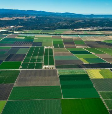 arial view of California farmland