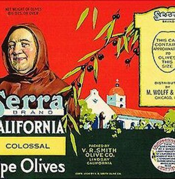 Serra Brand California Colossal Ripe Olives label, 1936