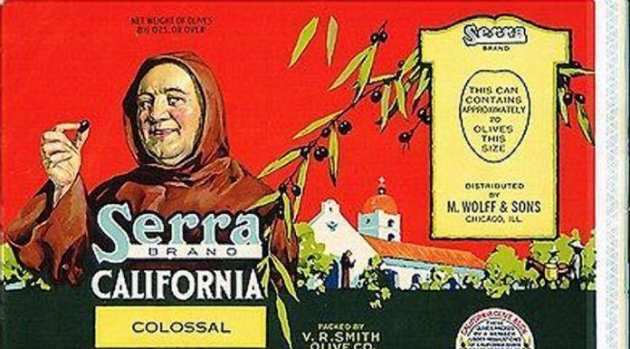 Serra Brand California Colossal Ripe Olives label, 1936