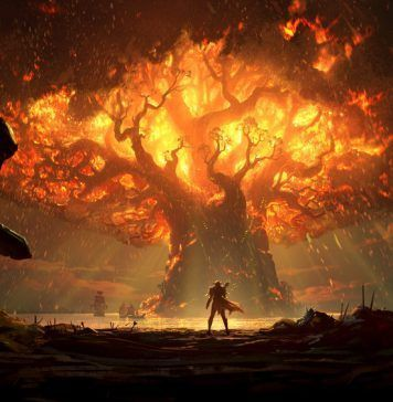 man standing in front of burning tree