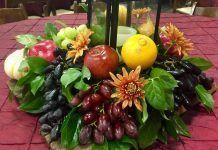 bounty of fruit and vegetables on table