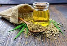 flour hemp seeds oil and cannabis leaves