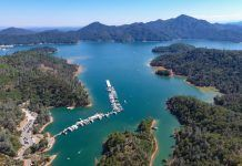 Aerial view of Lake Shasta in California