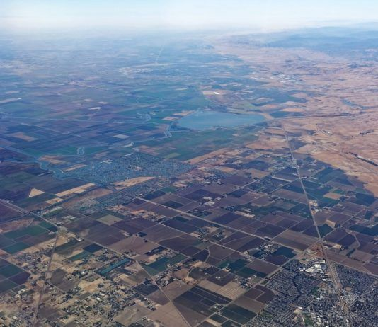 Aerial view of California's San Joaquin Valley.