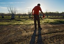Glen Gordon, engineering geologist with the California Department of Water Resources, cleans the tape used to measure the water depth at specific agricultural wells in Colusa County on March 17, 2016 (DWR)