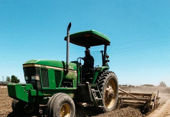 tractor prepping for young hemp plants