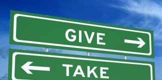 give and take road sign