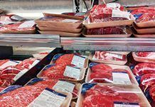 Packaged meat in grocery store